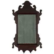 American Chippendale Mahogany Antique Mirror, Nearly Miniature in Size, Late 18th Century