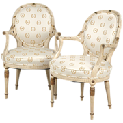 Pair of Painted French Arm Chairs, Mid Century c. 1930-50