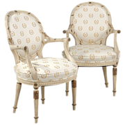 Vintage Pair of French Louis XVI Style Painted Arm Chairs c. 1930-50