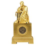 French Empire Figural Mantel Clock in Gilt Bronze c. 1810-20
