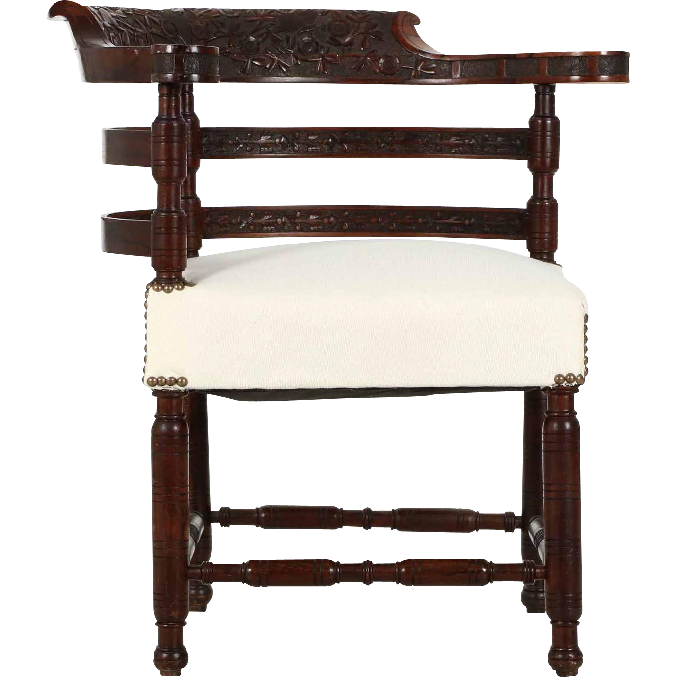 Rare Antique Rosewood Corner Chair, Finely Carved, Aesthetic Movement c. 1880
