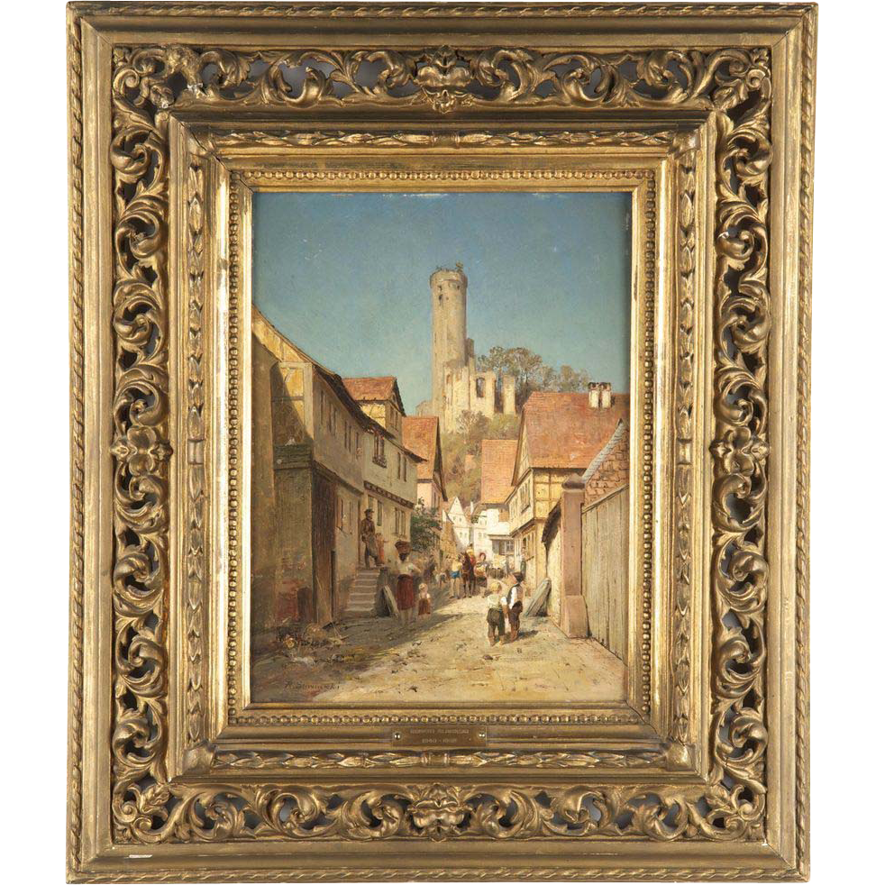 Robert Sliwinski Antique Painting, Continental School Street Scene