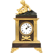 19th Century French Empire Antique Mantel Clock by Caranda, Paris