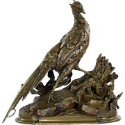 Jules Moigniez (French, 1835-1894) Bronze Sculpture of Pheasant and Weasel