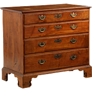 American Chippendale Walnut Chest of Drawers w/ Pierced Bracket Feet, Late 18th Century c. 1780