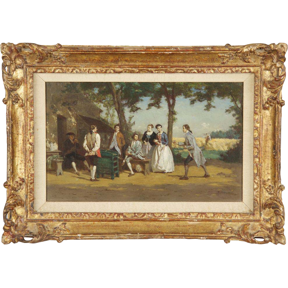 Jean Pezous Antique French Painting of Figures Playing Games