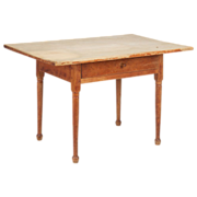American Antique Farm or Tavern Table in Scrubbed Pine, 19th Century