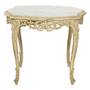 French Louis XV Antique Table w/ Marble Top
