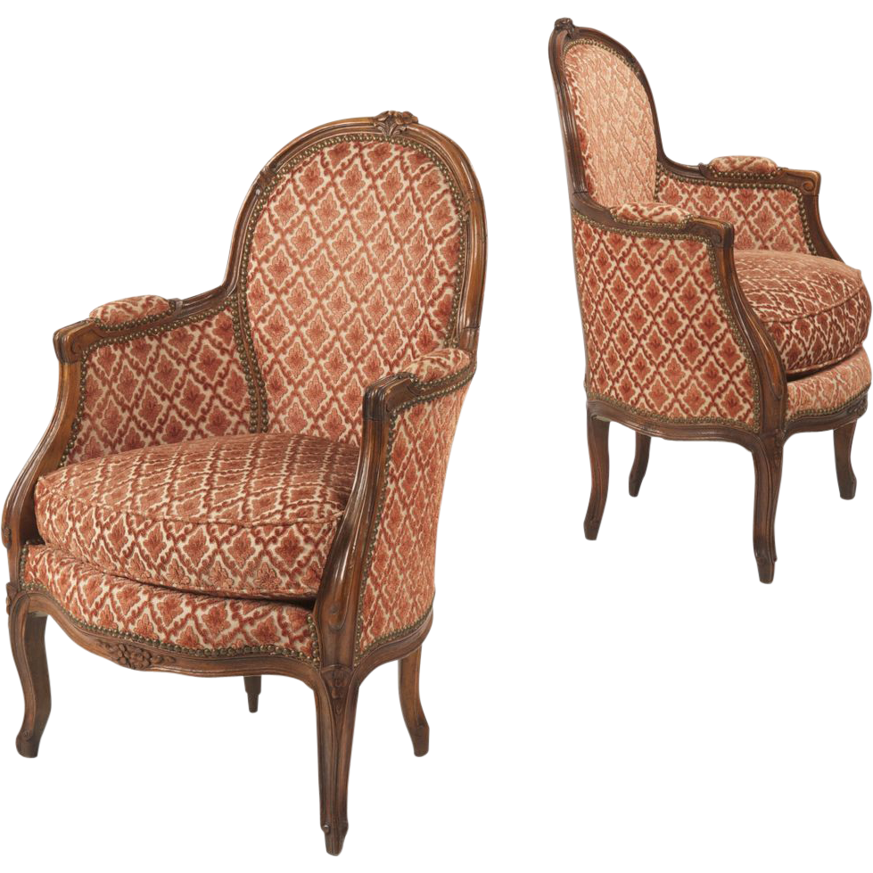 Pair Of French Antique Bergere Arm Chairs Louis Xv Style