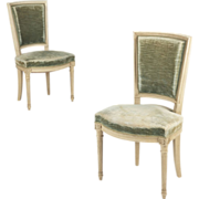 Pair of French Louis XVI Style Vintage Side Chairs c. 1940-50