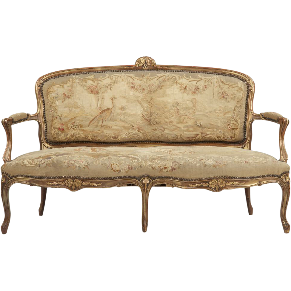 French louis xv sofa settee antique 19th century from for Settees and sofas