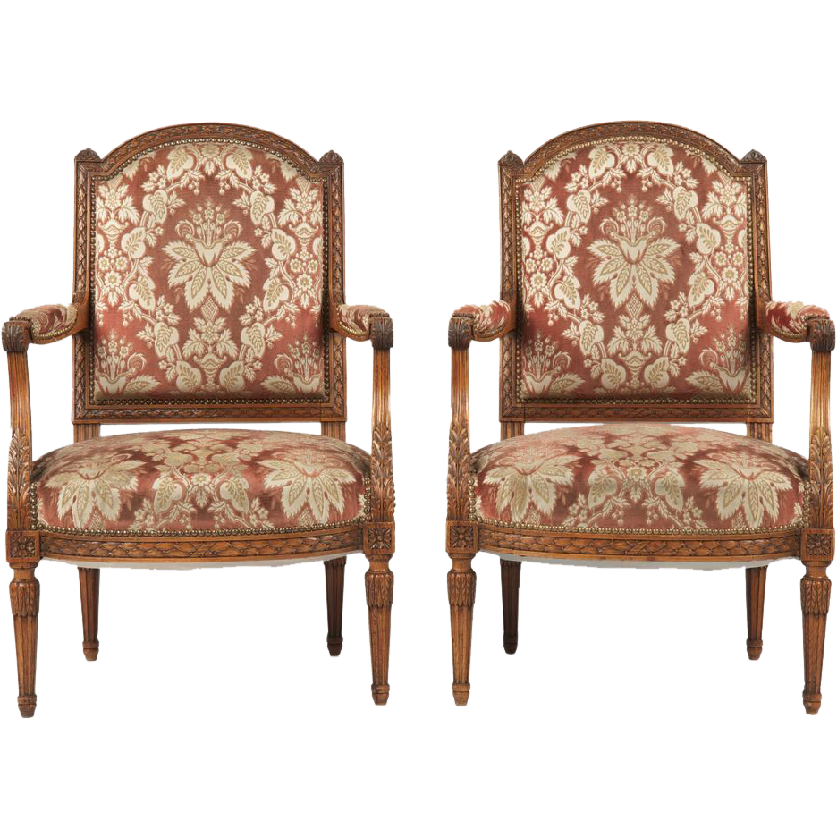 Pair of Antique French Fauteuil Chairs, Finely Carved c. Late 19th Century