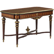 French Antique Bureau Plat Desk in Louis XVI Taste, 19th Century