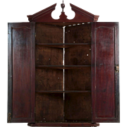 English Georgian Mahogany Broken-Arch Hanging Cupboard Cabinet, 19th Century