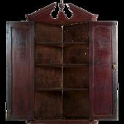 English Georgian Mahogany Broken-Arch Hanging Cupboard Cabinet, 19th Century