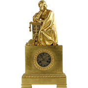 French Empire Gilt Bronze Antique Mantel Clock, Pons c. 1830