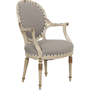 French Louis XVI Style Gray Upholstered Arm Chair circa 1940s