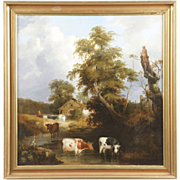 British School Antique 19th Century Painting of Cows