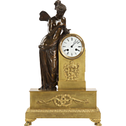 French Antique Bronze Mantel Clock of Psyche c. 1870 in Gilt Ormolu