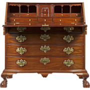 American Chippendale Oxbow Desk on Ball and Claw Feet, 18th Century