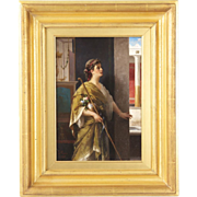 Luigi Crosio Italian Antique Painting of a Classical Interior c. 1877