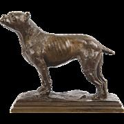 French School Bronze Sculpture of Dog Bull Terrier, 20th Century