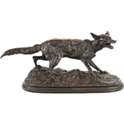 Pierre Jules Mene Antique French Bronze Sculpture of Fox Renard