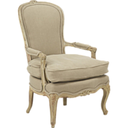French Antique Painted Arm Chair Fauteuil, 19th Century