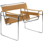 "Chrome and Leather ""Wassily"" Style Lounge Chair after Marcel Breuer"