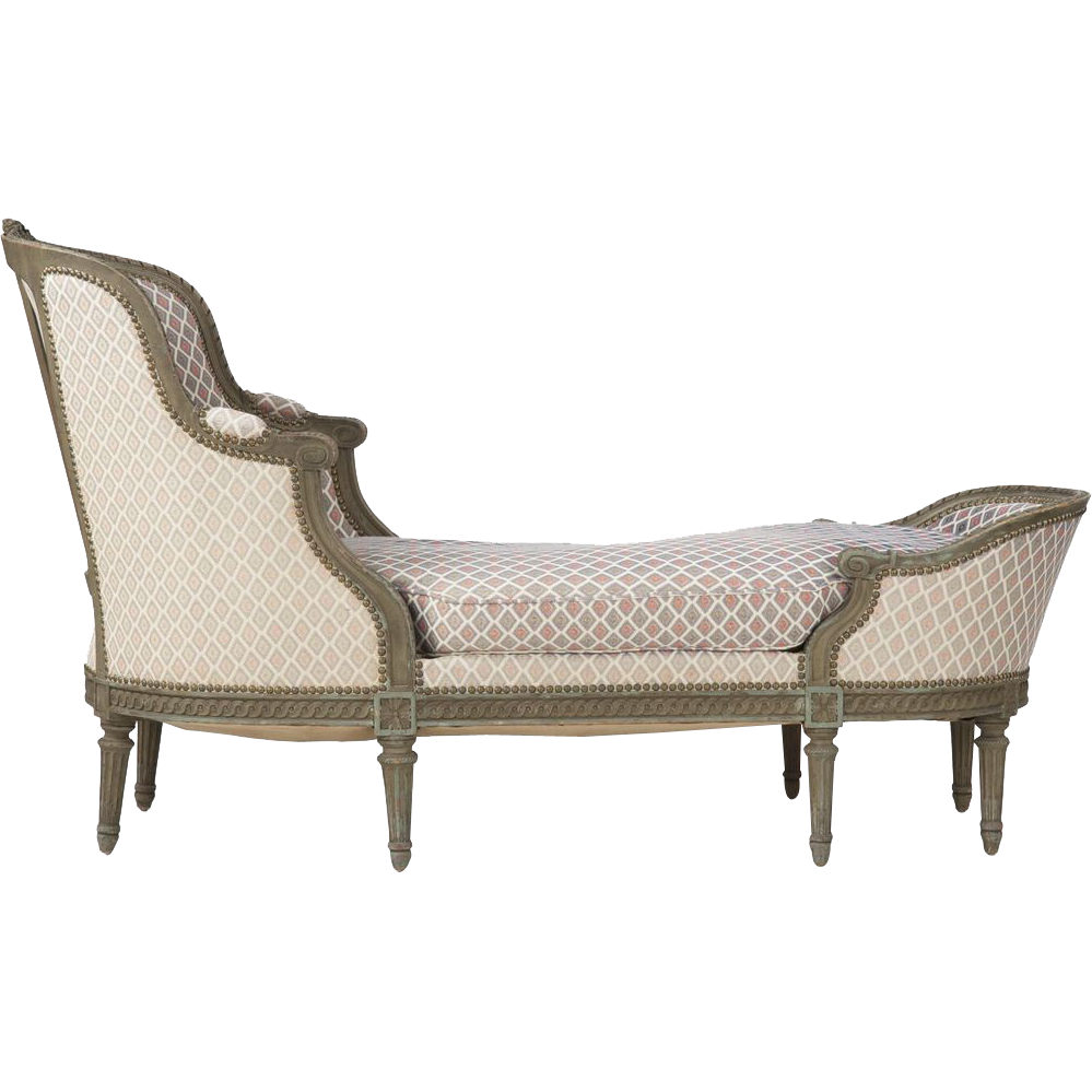 French louis xvi antique chaise longue lounge settee c for Chaise longue lockheed lounge