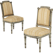 Antique Pair of Gray Painted Louis XVI Style Side Chairs, 19th Century