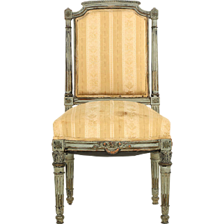 French Painted Antique Side Chair, Napoleon III Period, 19th Century