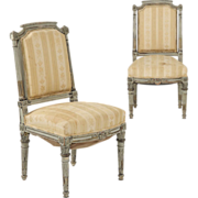 French Pair of Antique Side Chairs in Gray Paint c. 19th Century