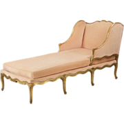 French Louis XV Antique Chaise Longue Lounge Recamier, 19th Century