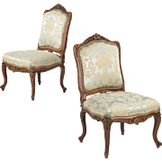 Pair of Rococo Revival Antique Chairs, Carved Walnut c. 1860-80