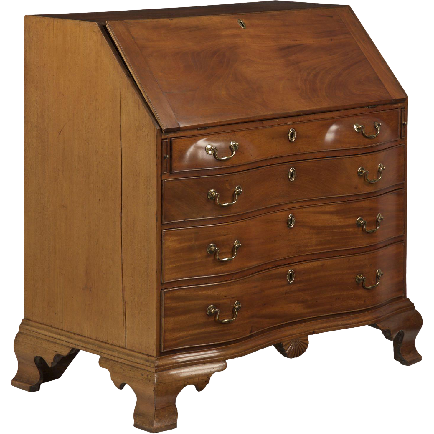 American Chippendale Oxbow Antique Desk c 18th Century