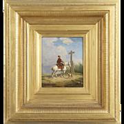 Eugene Verboeckhoven Antique Oil Painting of Man on Horseback c. 1840