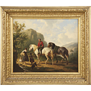 Dutch School Antique Oil Painting of Figures on Horses, 19th Century