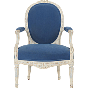 French Louis XVI Antique Fauteuil Arm Chair, 18th Century