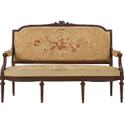 French Louis XVI Style Antique Settee, 19th Century