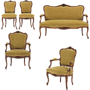Rococo Revival Antique Parlor Suite w/ Settee and Four Chairs c. 1880