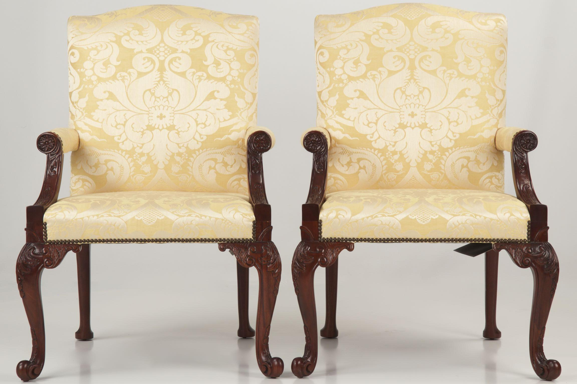 pair of baker gainsborough library chairs 5033 from the stately homes sold on ruby lane. Black Bedroom Furniture Sets. Home Design Ideas