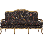 French Louis XV Antique Settee Canape Sofa, 19th Century