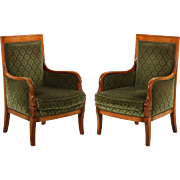 Pair of French Empire Style Carved Antique Arm Chairs