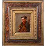 Antique German Oil Painting of Musician by Wladimir Magidey, 19th Century