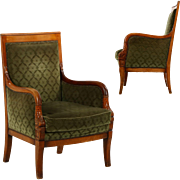 Pair of Empire Style Bergere Arm Chairs, Early 20th Century
