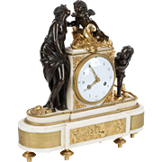 French Antique Bronze Sculpture Mantel Clock of Venus and Cupids, 19th Century