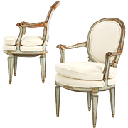 19th Century Pair of French Neoclassical Antique Distressed Painted Arm Chairs