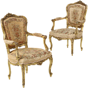 French Louis XV Antique Arm Chairs, 19th Century, Exceptional Quality