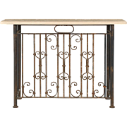 Stone Top Wrought Iron Antique Console Table
